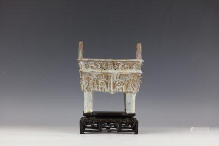 CHINESE Antique SHIWAN Ding Shape CENSER with Wood Base