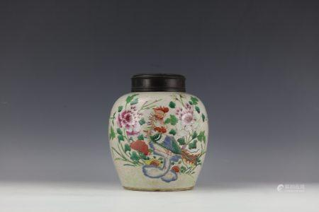 A Famille Rose Flower and Rooster Porcelain Vase with Wood Cover