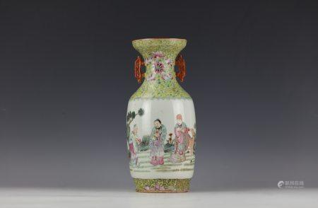 A Chinese Famille Rose Figure-storied Porcelain Vase with Double Handle