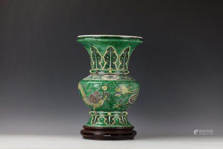 A Chinese Porcelain Big Vase  Double Dragons with Wood Base