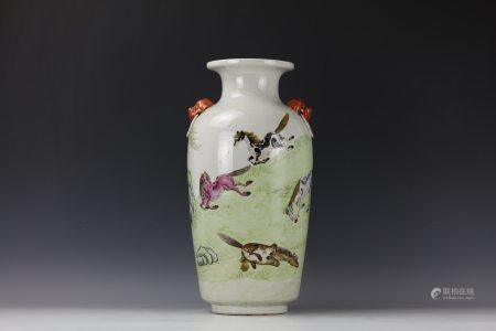 A Chinese Famille Rose Porcelain Vase Horse Pattern with Double Handle