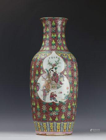 A Chinese Famille Rose Red Ground Gourd Pattern Porcelain Vase