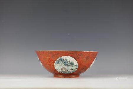 A Chinese Red Gild Painted Landscape Porcelain Bowl Shendetang Mark