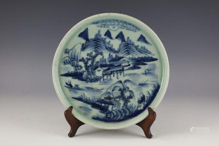 A Chinese Blue and White Green Ground Landscape Porcelain Plate