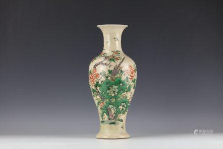 A Famille Rose Flower Bird Porcelain Vase with QianLong Mark