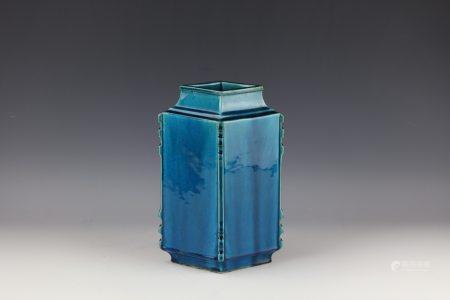 A Chinese Diamond Shaped Blue Glazed Porcelain Vase