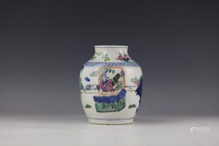 A Chinese Doucai Porcelain Jar with Qianlong Mark