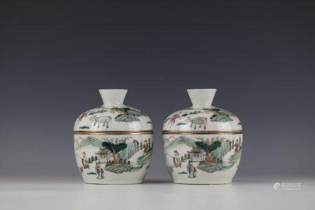 A Pair of Famille Rose Porcelain Jar with TongZhi Mark