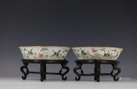 Two Famille Rose Porcelain Bowls with Base TongZhi Mark
