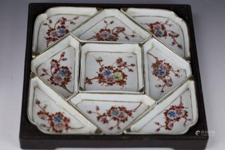 Chinese Export Famille Rose  Sweetmeat Set in Fitted Box, Last Half 19th Century