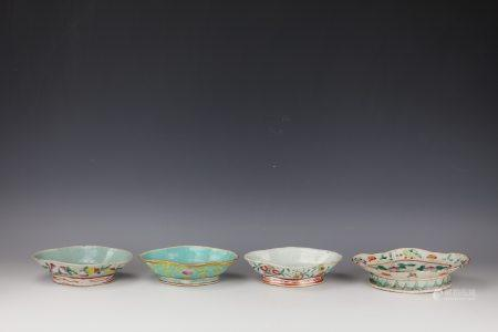 Four Chinese Famille Rose Flower Porcelain Plate