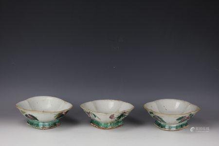 Three Chinese Lotus Flower Famille Rose Porcelain Plates