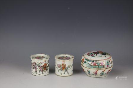 Three Chinese Wucai Figural Porcelain Jar