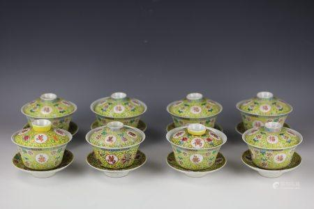 A Set of 8 Chinese Yellow-ground Famille Rose Porcelain Teacup