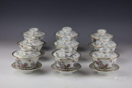 A Set of 9 Wan Zhulin Qianjiangcai Prcelain Teacup