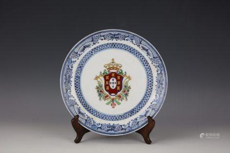 A Famille Rose Flower and Badge Porcelain Plate