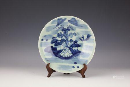 A Chinese Blue White Porcelain Plate with Chenghua Mark