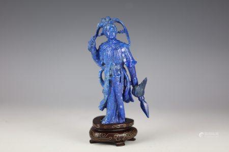 A Chinese Lapis Lazuli Carved MuGuiYing with Base