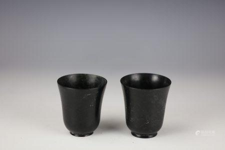 A Pair of Chinese Black Jade Wine Cup