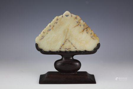 A Chinese Triangle Shaped Carved Jade Table Screen