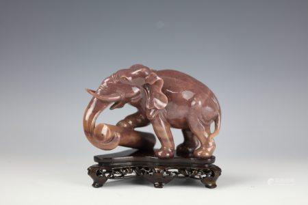 A Chinese Brown Jade Carved Elephant  with Base