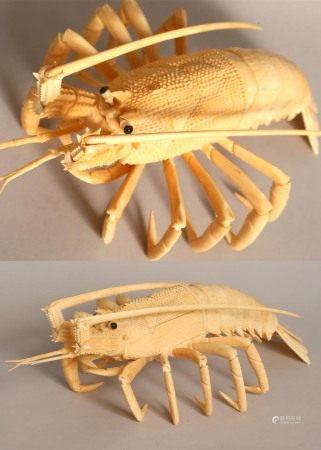骨雕龍蝦擺件