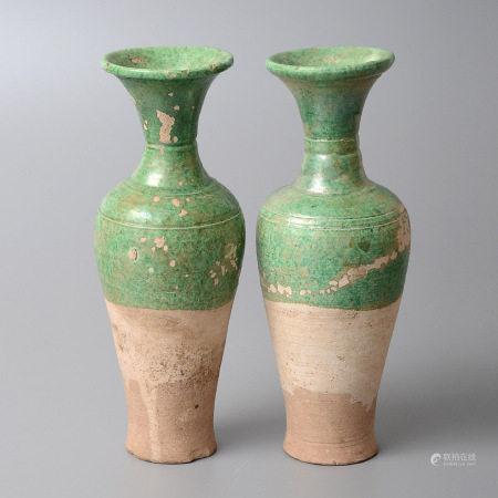 綠釉瓶一對