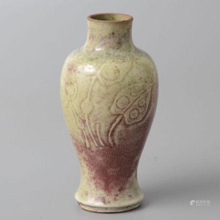 窯變釉刻花瓶