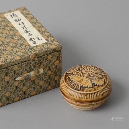 醬釉印花蓋盒