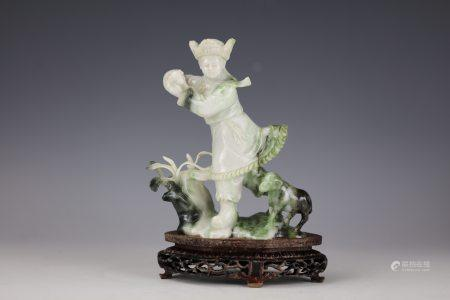 A Chinese White and Green Jade Carved Man and Sheep