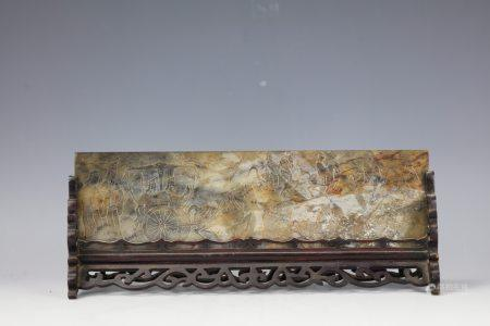 A Chinese Brown Jade Carved Figure-storied Tablescreen
