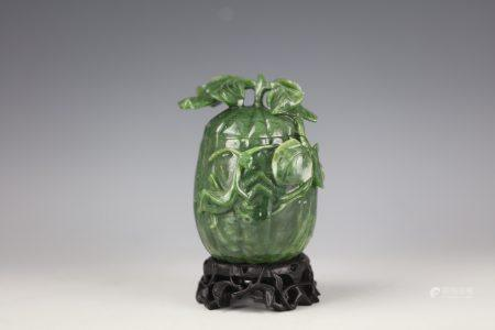 A Chinese Jasper Jade Carved Pumpkin Shaped Jar with