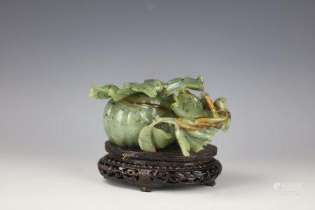 A Chinese Green Jade Carved Pumpkin Jar with Base