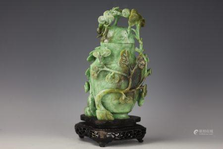 A Chinese Green Nanyang Jade Carved Vase with Cover and