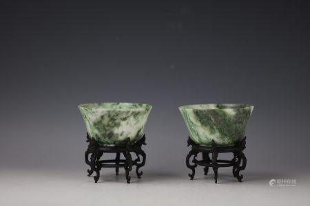A Pair of Chinese Green Nanyang Jade Carved Bowl with