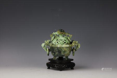 A Chinese Dushan Jade Carved Censer with Cover and Base