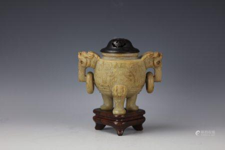 A Chinese Shoushan Stone Carved Censer with Cover and