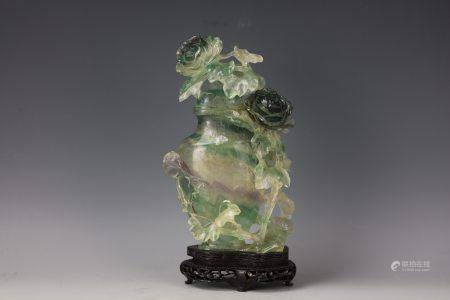 A Chinese Tourmaline Flower Vase with Cover and Base