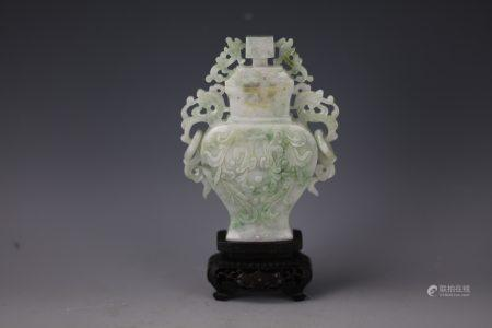 A Chinese Green and White Jade Carved Vase with Cover