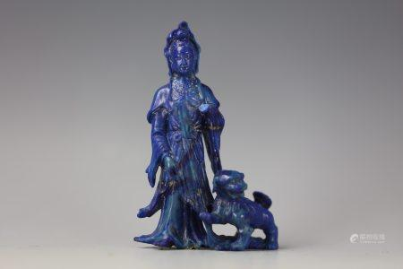 A Chinese Lapis Lazuli Carved Fairy and Foodog with