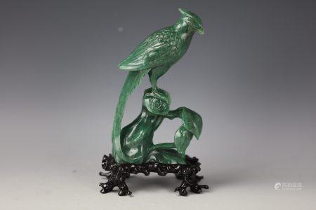 A Chinese Dongling Green Jade Carved Bird with Base