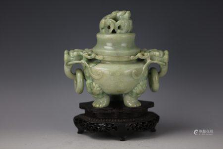 A Chinese Green Jade Carved Dragon Handle Censer with