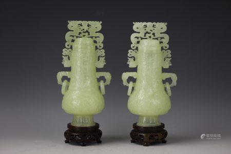 A Pair of Chinese White Jade Carved Double Handle Vase