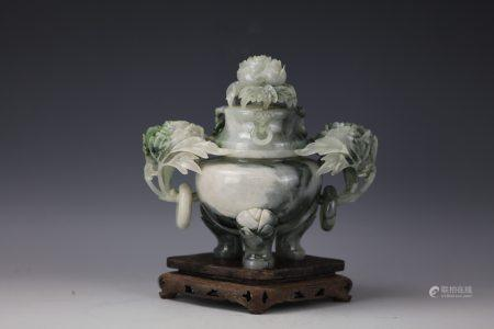 A Chinese Dushan Jade Carved Flower Censer with Cover