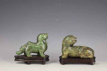A Pair of Chinese Green Jade Pi  Xu Dragon with Base