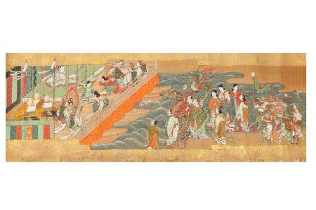 A HANDSCROLL PAINTING. 17th Century. Seven sections from a handscroll depicting medieval tales of