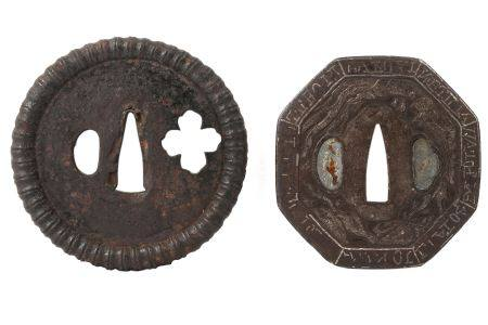 TWO RARE IRON NAMBAN TSUBA. Edo period. A hexagonal tsuba carved in takaboru with a ho-o bird and