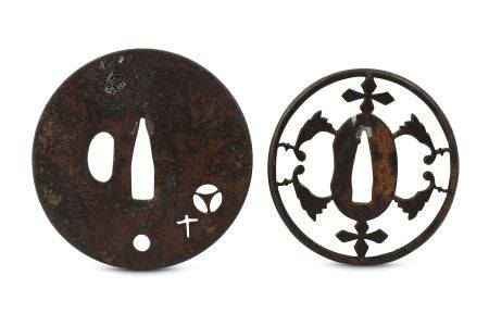 TWO IRON KAKURE KIRISHITAN (HIDDEN CHRISTIAN) TSUBA. Edo period. A circular sukashi tsuba with cross