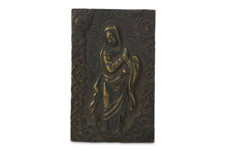 A SMALL BRONZE PLAQUE OF MADONNA. Possibly 16/17th Century. A rectangle panel cast in relief with