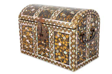 A NAMBAN CASKET. Late 16th Century. The rectangular casket with a domed hinged cover, decorated in